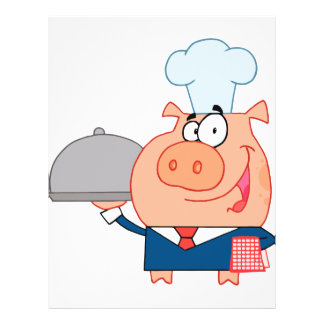 funny piggy pig waiter wearing chefs hat flyer