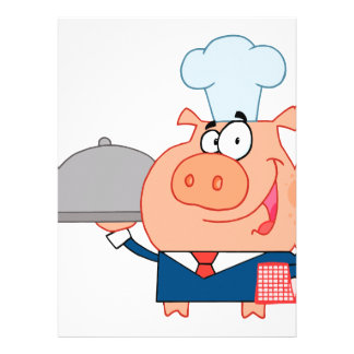 funny piggy pig waiter wearing chefs hat invites