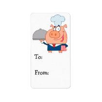 funny piggy pig waiter wearing chefs hat label