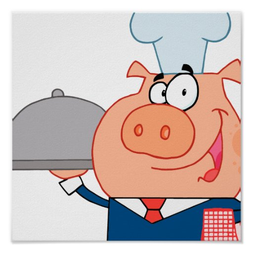 funny piggy pig waiter wearing chefs hat poster