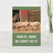 Funny Piglets Barnyard Brawl Mother's Day Holiday Card