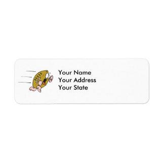 funny pignskin pig football running scared return address label