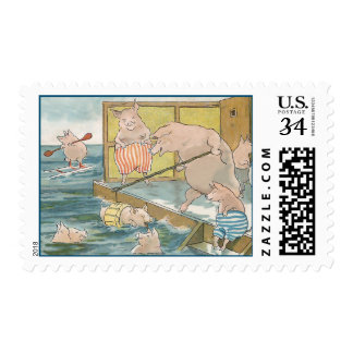 Funny Pigs Swimming at the Beach - Vintage Art Postage