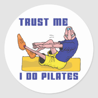Funny Pilates Classic Round Sticker
