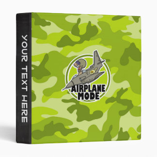 Funny Pilot bright green camo camouflage 3 Ring Binders