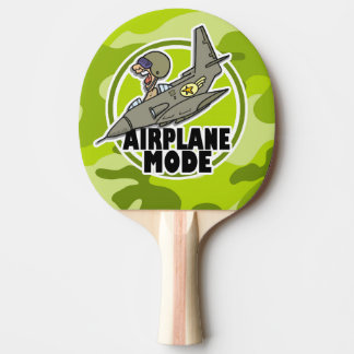 Funny Pilot; bright green camo, camouflage Ping-Pong Paddle