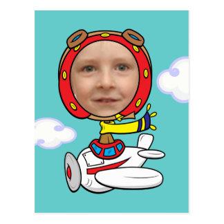 Funny Pilot Photo Face Template Postcard