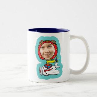 Funny Pilot Photo Face Template Two-Tone Coffee Mug