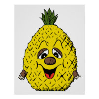 Funny Pineapple Cartoon Face Foodie, ZSSG Poster