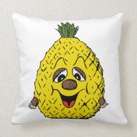 Funny Pineapple Cartoon Face Foodie, ZSSG Throw Pillow