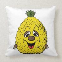 Funny Pineapple Cartoon Face Foodie, ZSSG Throw Pillow