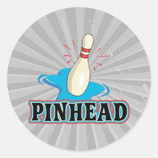 funny pinhead bowling design classic round sticker