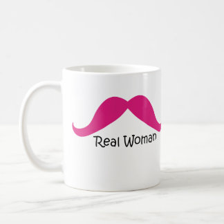 Funny Pink and Black Real Women Mustache Coffee Mug