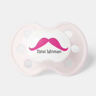 Funny Pink and Black Real Women Mustache Pacifier