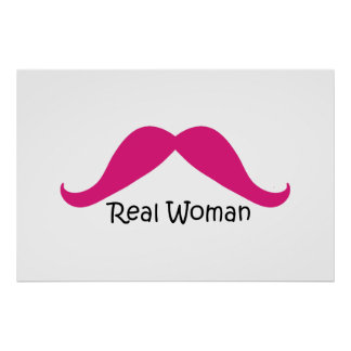 Funny Pink and Black Real Women Mustache Print