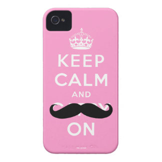 Funny Pink Black Moustache Keep Calm iPhone 4 Case