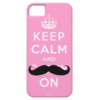 Funny Pink Black Moustache Keep Calm iPhone 5 Case