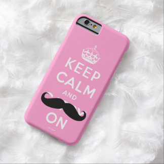 Funny Pink Black Mustache Keep Calm Barely There iPhone 6 Case