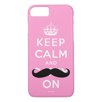 Funny Pink Black Mustache Keep Calm iPhone 8/7 Case
