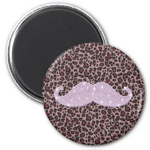 Funny Pink Bling Mustache And Animal Print Pattern 2 Inch Round Magnet
