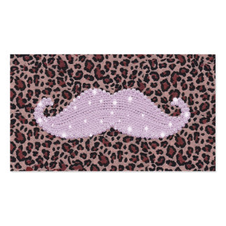 Funny Pink Bling Mustache And Animal Print Pattern Business Card