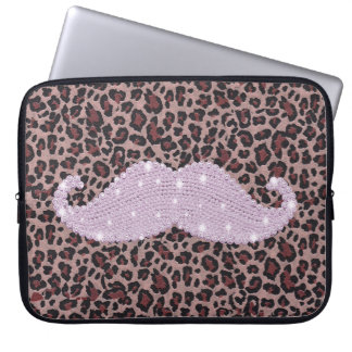 Funny Pink Bling Mustache And Animal Print Pattern Laptop Sleeve