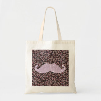 Funny Pink Bling Mustache And Animal Print Pattern Tote Bag