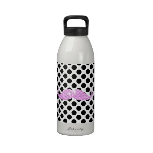 Funny Pink Bling Mustache And Black Polka Dots Water Bottles