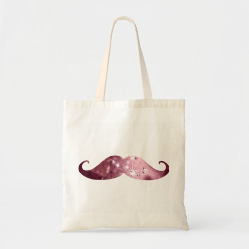 Funny Pink Bling Mustache Tote Bags