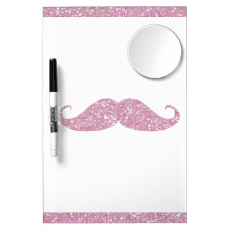Funny Pink Bling Mustache Dry Erase Whiteboard