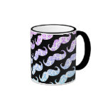 Funny Pink Blue Floral Damask Mustache Pattern Coffee Mugs