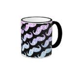 Funny Pink Blue Floral Damask Mustache Pattern Coffee Mugs