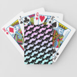 Funny Pink Blue Floral Damask Mustache Pattern Poker Deck