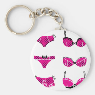 Funny pink bra edition on white keychain