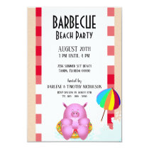 Funny Pink Cartoon Pig | Beach Pool Party Invitation