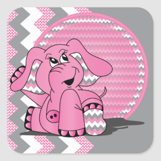 Funny Pink Chevron Elephant Square Sticker