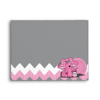 Funny Pink Chevron Silly Elephant Envelope
