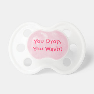 Funny Pink Clean Me Pacifier You Drop You Wash BooginHead Pacifier