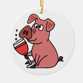 Funny Pink Drinking Wine Ceramic Ornament