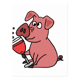 Funny Pink Drinking Wine Postcard