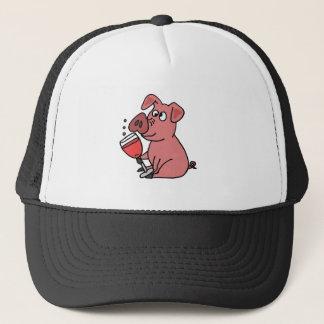 Funny Pink Drinking Wine Trucker Hat