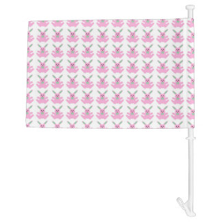 Funny Pink Easter Bunnies Car Flag