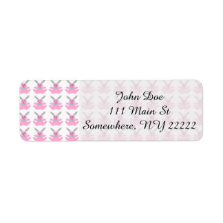 Funny Pink Easter Bunnies Label