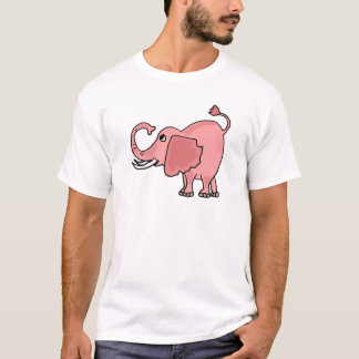 Funny Pink Elaphant Cartoon T-Shirt