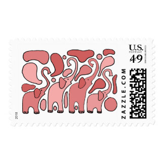 Funny Pink Elephant Abstract Art Stamps