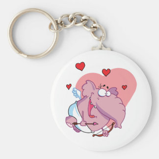 Funny Pink Elephant Cupid Basic Round Button Keychain