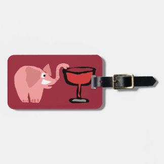 Funny Pink Elephant Drinking Red Wine Luggage Tag