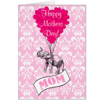 Funny pink elephant mothers day card