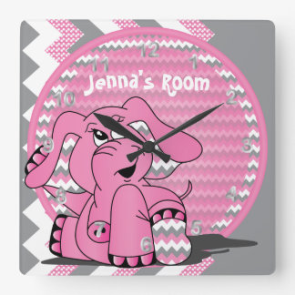 Funny Pink Elephant on Chevron Background Square Wall Clock
