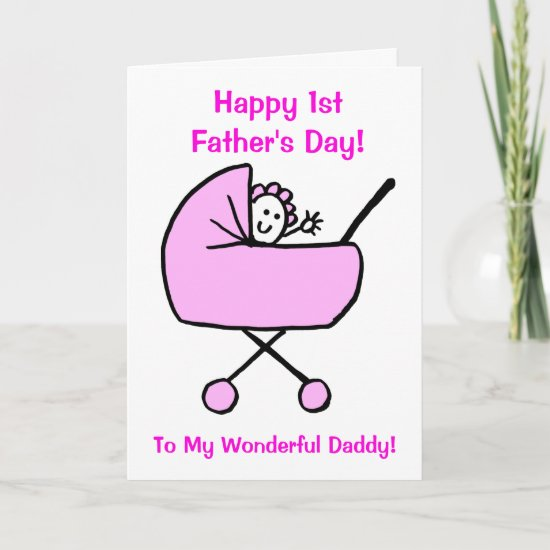 Funny Pink First Fathers Day Daughter Cartoon Card